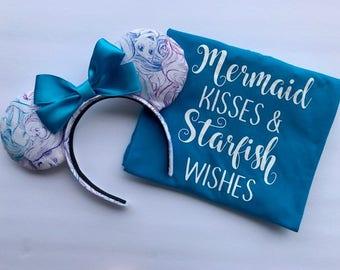 The Little Mermaid inspired shirt, Little Mermaid tee, Mermaid tshirt, Mermaid Kisses Starfish wishes, Women's Disney shirts