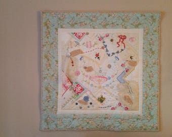 "Handkerchief collage wall quilt, 28.5""x28.5"""