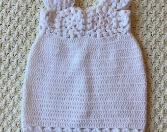 White granny square crochet baby girl dress (6 months)