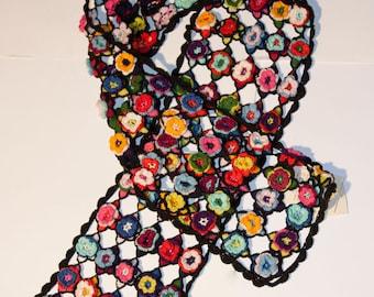CROCHET FLOWER SCARF, crochet scarf, flower crochet scarf, handmade scarf, fair trade scarf, fair-trade scarfs, multi-layer flowers scarf