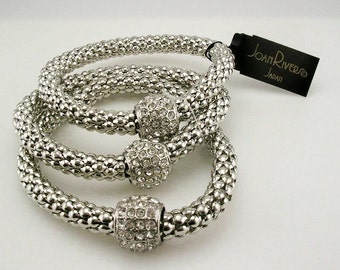 Joan Rivers Set of 3  Expansion Bracelets   silver tone