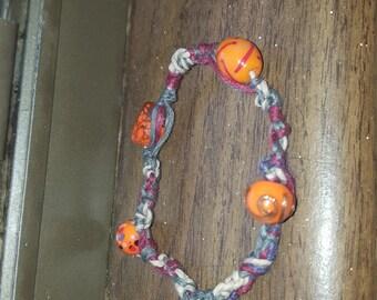 Orange sunshine hemp bracelet