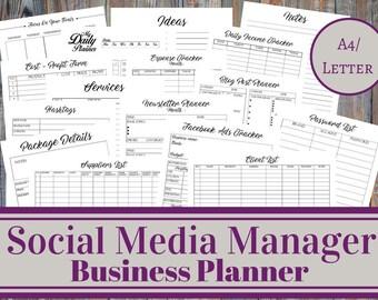 Social Media Manager Business Planner, Social Media Account Management, Small Business, Client Management, Online Business