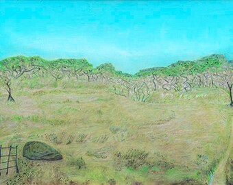 Nantucket Backyard Digital Print Painting