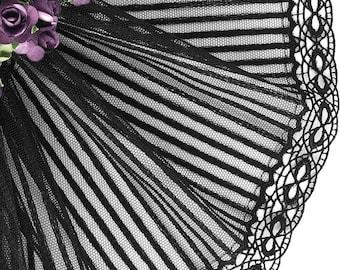 Tulle lace satin stripe black 16 cm