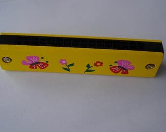 Vintage Children Harmonica/ Children Musical Instrument/ Wooden Harmonica/ Gift for collector