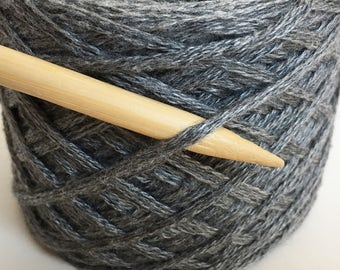 Recycled COTTON CASHMERE Viscose Worsted Aran Weight Gray Yarn