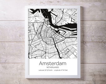 Amsterdam City Map Wall Art Prints