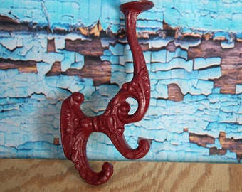 Victorian Cast Iron Hook Burgundy