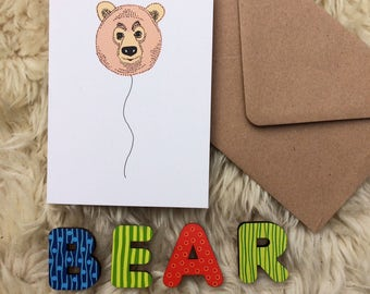 Bear Balloon greeting card