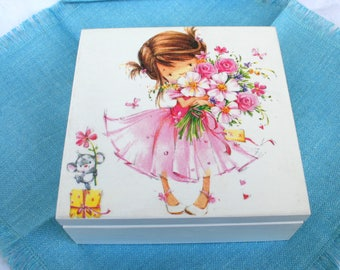 Wooden box Girl with flowers, handmade box, sweet girl, home decoration, wooden casket , gift for wife , bridal gift ,