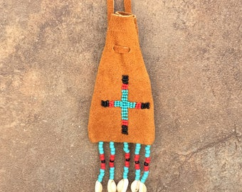 medicine bag,Native American Art,100% Authentic,Beaded Deerskin Leather Medicine Bag,Handmade,Hand-beaded,Cheyenne Beaded Medicine Bag