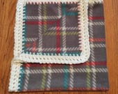 Gray Plaid Baby Blanket with Square Edging, fleece baby blanket, crochet edge baby blanket, crochet baby blanket, fleece blanket, crochet