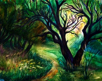 Magic art Psychedelic painting Mysterious picture Enigmatic art Fairy art Mystic art Old tree picture Forest path art PaintingOnlineStore