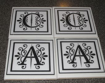 name initial coasters (pack of 4)