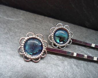 2 hair clips, Barrettes, Cabochon, mother of Pearl, vintage-style, silver, hair pins, PO
