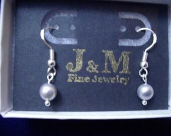 Sterling Silver Dove Gray Pearl Dangle Earrings