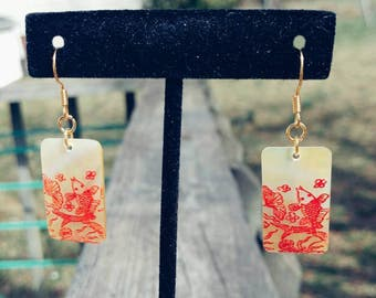 Etched Rectangular Abalone Earrings