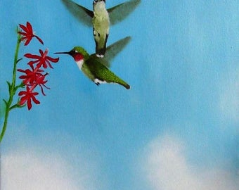 6159 hummingbirds Dancingbranch paintings hov