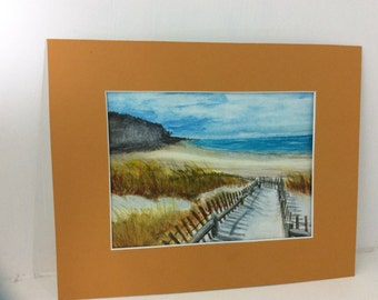 original watercolor painting, Beach fence, watercolor matted 8 x 10 inches FREE Shipping USA