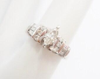 Diamond Ring, Platinum Ring, Marquise Diamond, Engagement Ring, 950 Platinum .33 TCW Carat Marquise Baguette Round Diamond Ring #323