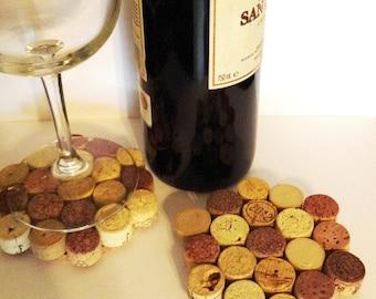 Cork Cup Holder Set (4 pcs) /Portavasos of wine Cork