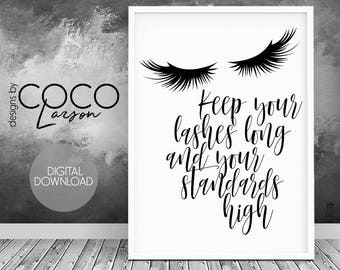 Teen girl wall art, lashes print, inspirational quote, fashion wall art, girl wall art, teen girl gift, teen girl room decor, lashes quote
