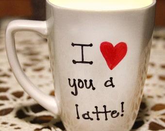 """Handmade Coffee Mug Soy Wax Candle, """"I love you a latte"""" mug candle"""