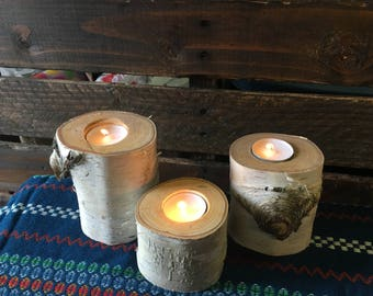 Birch Candle Holders (Set of 3)