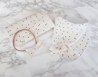 Polka dot bandana bib gift set, baby bib, baby girl gift, bandana bib, bibs, burp cloths, bows, headbands, bow clips, baby gift set