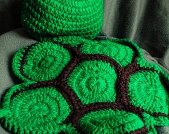 Handmade Crochet Turtle Cape Set - Baby Crochet Hat and Turtle Shell - Photo Prop - Crochet Turtle