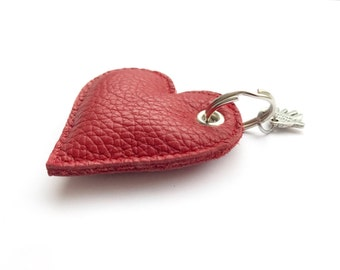 Heart key chain in red leather
