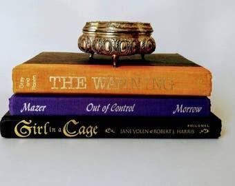 Halloween decor books, gothic decor books, black and orange books, set of 3, fall book set, bookshelf decor, gothic decor, black book set