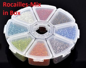 Seed beads mix-in-box, pearls, beads, colorful jewelry beads