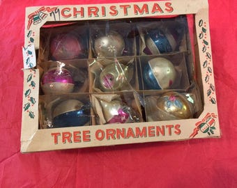 Vintage Christmas ornaments set of 9