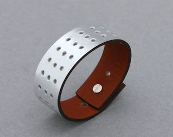 Leather Bracelets Hole Punched Metallic Silver Cuff Men Women