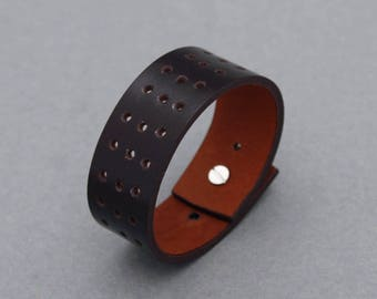 Leather Bracelets Hole Punched Dark Brown Wide Cuff Men Women