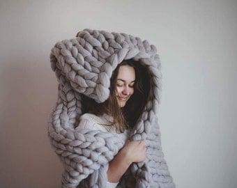Chunky knit merino wool BLANKET | KOC z welny czesankowej