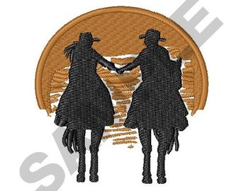 Cowboy And Cowgirl Sunset - Machine Embroidery Design