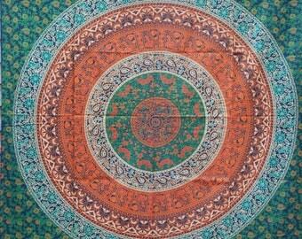 Hand Made Single Bed Multicolour Mandala Throw/Wall hanging(Green)