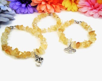 Raw citrine bracelet, natural crystal, yellow crystals and stones, Solar plexus chakra healing, November birthstone, extra small to anklet