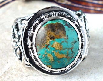 Mens Ring Sterling Silver with Turquoise- Persian gemstone Firoza Turkis