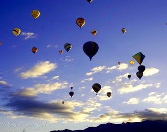 Hot Air Balloon, Balloon Fiesta, photography, color, Albuquerque, New Mexico, sky, sunrise, Mass Ascension