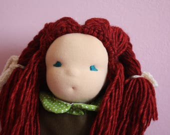 Waldorf doll, doll, handmade doll, doll natural fibres inspired by Waldorf, cloth doll, stuffed with wool carded wool.