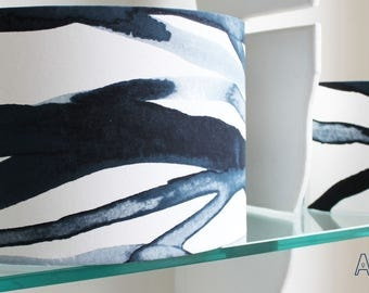 A Blue & White Custom Made LAMPSHADE inspired by Hanna Dalrot Stockholm IKEA collection/Style Cylinder/Drum Lampshades/Pendant Shade/Table