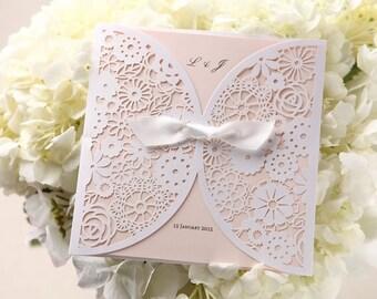 Dainty Floral Laser Cut Wrap Wedding Invitation, Silky Bow  12065