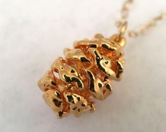 Pinecone Necklace, 24k Gold Necklace, Bridesmaids Gift, Nature Gift, Pinecone Set