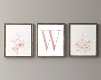 Letter W | Nursery Print | Nursery Art | Alphabet | Instant Download | Digital Print | Wall Art | Baby Girl | Initials | Pink | Watercolor