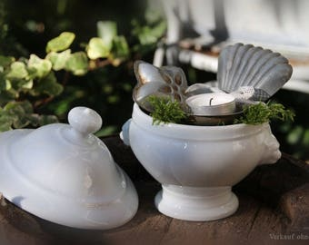 Small old lid Terrine vintage french tureen soupière brocante shabby chic ironstone ceramic
