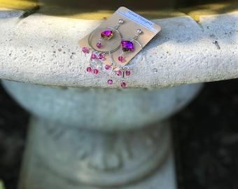 Vintage Metal Hoop with vintage Swarovski Square Crystal earrings
